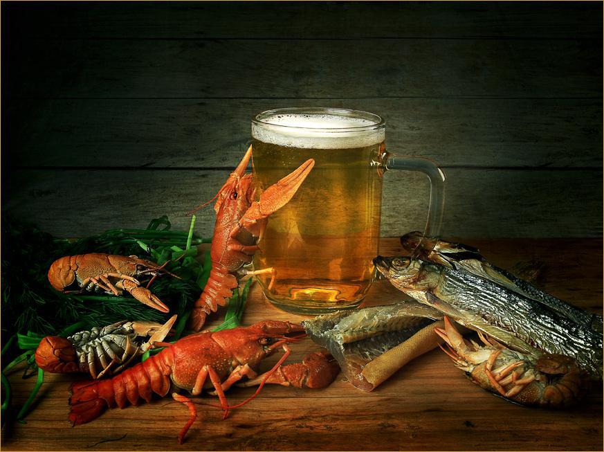 Открытки пиво и раки, днем